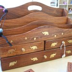 Sheesham wood letter rack